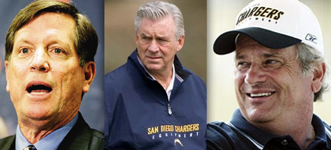 Norv Turner, A.J. Smith and Dean Spanos