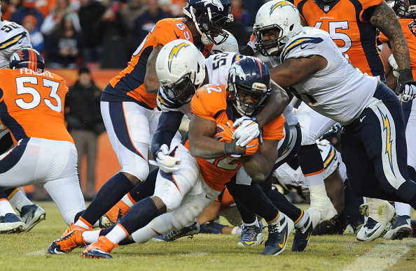 Denver Broncos versus the San Diego Chargers
